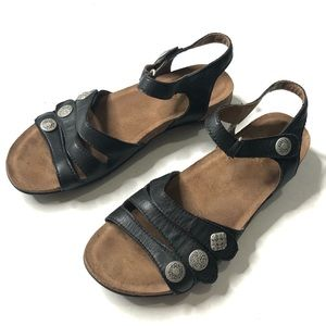 Dansko Black Leather Strap Sandals